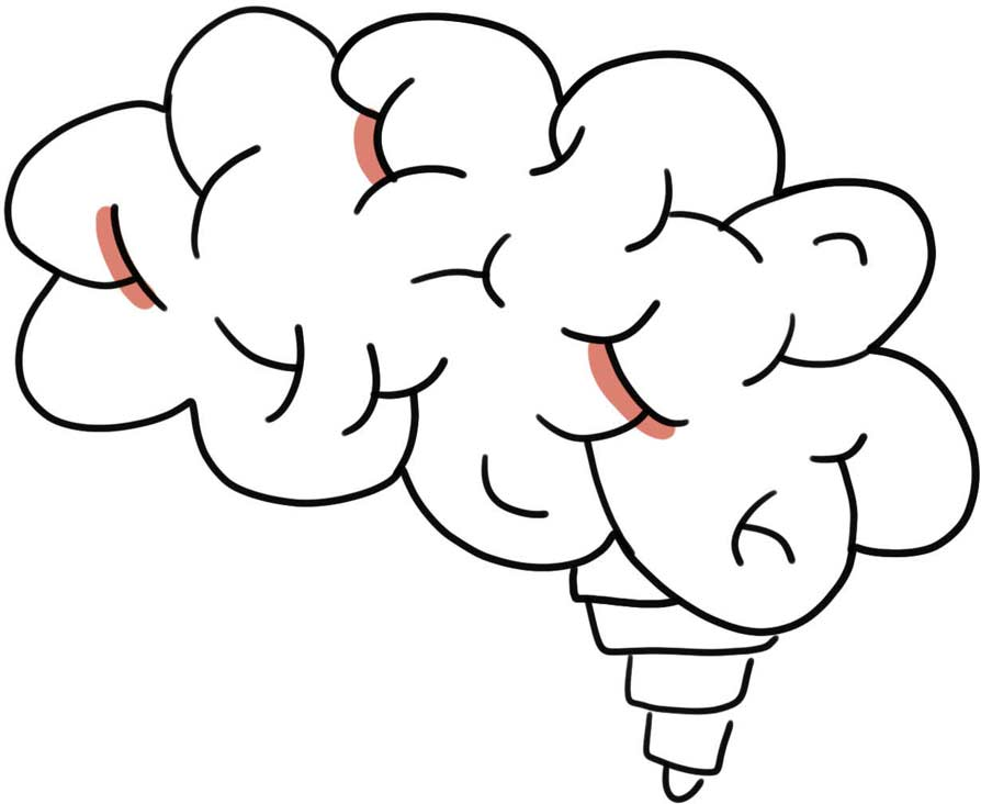 easy instructions for drawing a brain